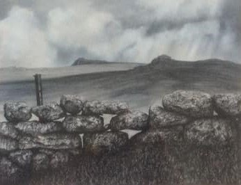 Dartmoor stone wall and Haytor