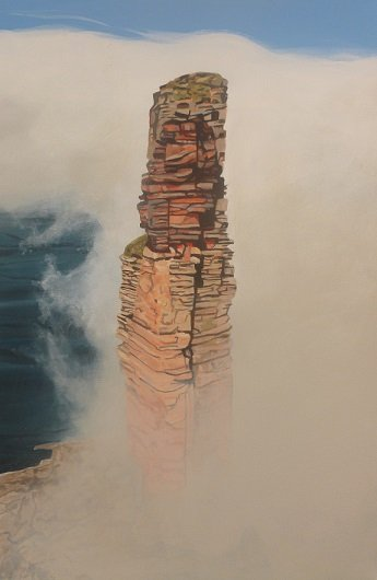 Old Man of Hoy in mist